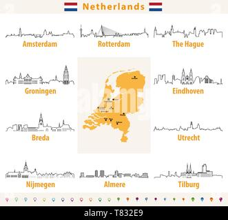 Netherlands map with largest cities skylines - Stock Photo