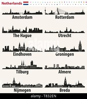 Netherlands largest cities skylines silhouettes - Stock Photo