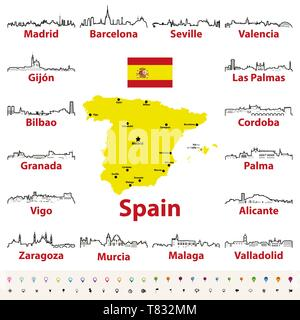 vector map of Spain with largest cities skylines - Stock Photo