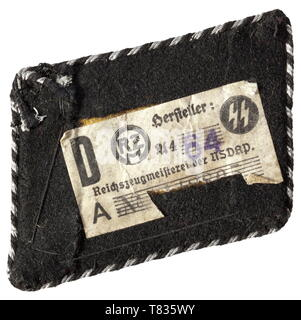 A collar patch for the SS dispositional troops for leaders of the SS school Brunswick Hand-embroidered metal thread on a black velvet backing. Continuous black-silver piping. Slightly damaged RZM paper tag on the reverse. historic, historical, 20th century, 1930s, 1940s, Waffen-SS, armed division of the SS, armed service, armed services, NS, National Socialism, Nazism, Third Reich, German Reich, Germany, military, militaria, utensil, piece of equipment, utensils, object, objects, stills, clipping, clippings, cut out, cut-out, cut-outs, fascism, fascistic, National Socialist, Editorial-Use-Only - Stock Photo