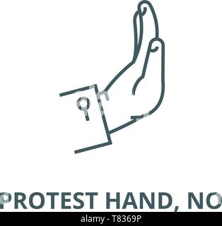 Protest hand, no vector line icon, linear concept, outline sign, symbol - Stock Photo