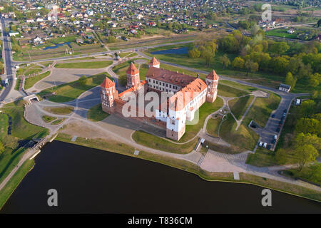 Aerial view of Mir Castle on a sunny April morning. Belarus - Stock Photo