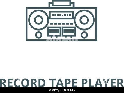 Record tape player vector line icon, linear concept, outline sign, symbol - Stock Photo