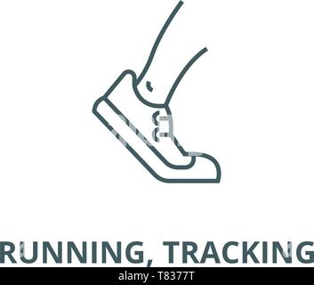 Running, tracking vector line icon, linear concept, outline sign, symbol - Stock Photo