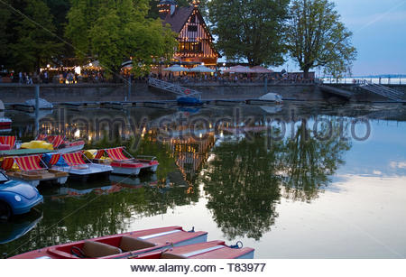 Bregenz on Lake Constance, Austria, in the evening - Stock Photo