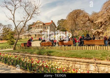 emirgan,istanbul,turkey-april 6,2019. The Emirgan Park is a historical urban park located at the Emirgan in istanbul.International Istanbul Tulip Fest - Stock Photo