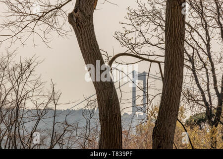 emirgan,istanbul,turkey-april 6,2019. The Emirgan Park is a historical urban park located at the Emirgan in istanbul. general view and fatih sultan me - Stock Photo