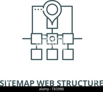 Sitemap web structure vector line icon, linear concept, outline sign, symbol - Stock Photo