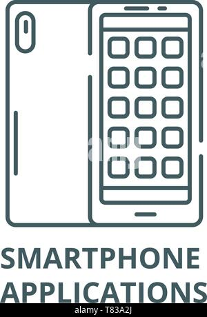 Smartphone applications vector line icon, linear concept, outline sign, symbol - Stock Photo