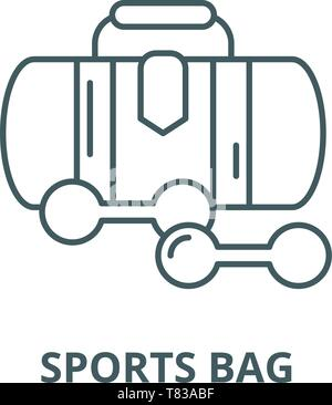 Sports bag vector line icon, linear concept, outline sign, symbol - Stock Photo