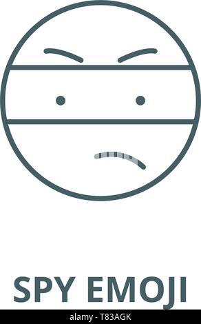 Spy emoji vector line icon, linear concept, outline sign, symbol - Stock Photo