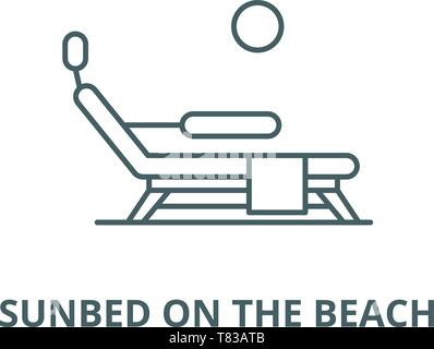 Sunbed on the beach vector line icon, linear concept, outline sign, symbol - Stock Photo