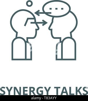 Synergy talks vector line icon, linear concept, outline sign, symbol - Stock Photo