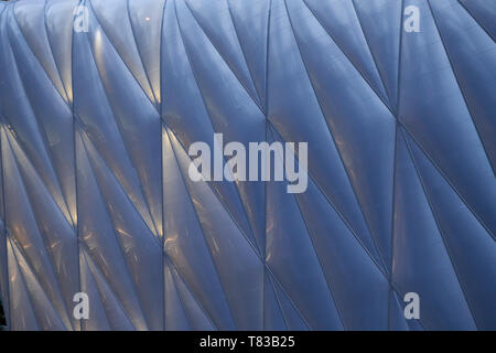 Exterior detail of the moveable roof of The Shed performing Arts Center in New York City - Stock Photo