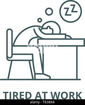 Tired at work vector line icon, linear concept, outline sign, symbol - Stock Photo