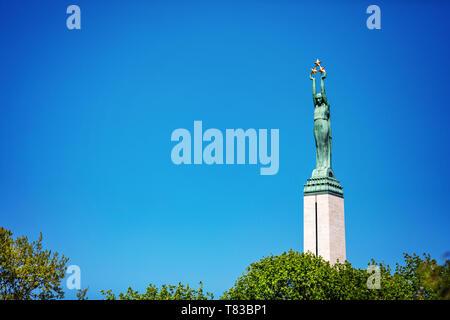 landmarks of Latvia - freedom monument in Riga against blue sky - Stock Photo