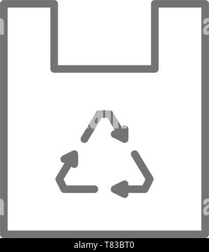 Plastic bag, waste recycling, trash line icon. - Stock Photo
