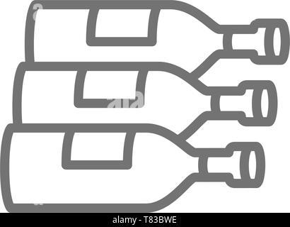 Bottles, wine, alcohol line icon. - Stock Photo
