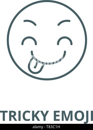 Tricky emoji vector line icon, linear concept, outline sign, symbol - Stock Photo