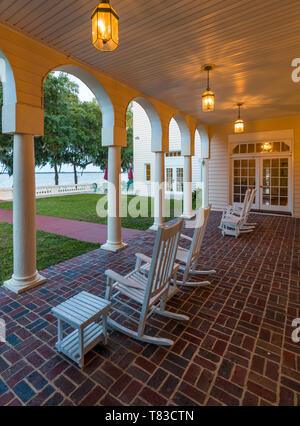 Porch at Capernaum Lakeside Lodge also Capernaum Inn Retreat Center built in 1925 in Lake Wales Polk County Floridda in the United States - Stock Photo