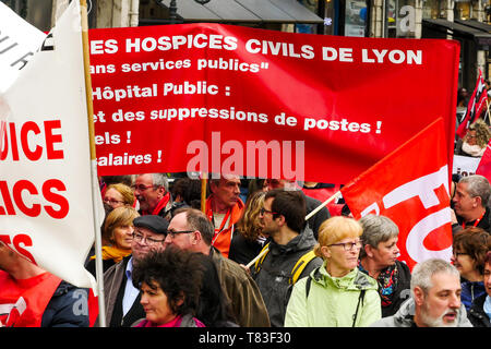 Public officials march to defend civil Services, Lyon, France