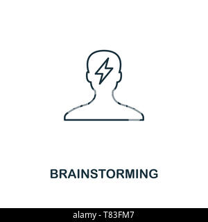 Brainstorming icon. Outline style thin design from business icons collection. Pixel perfect simple pictogram brainstorming icon for UX and UI - Stock Photo