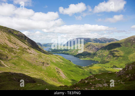 Lake District National Park, Cumbria, England. View over Buttermere and distant Crummock Water from the western slopes of Haystacks. - Stock Photo