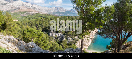 Panorama of calm blue sea with pine tree forest and mountain above in Croatia - Stock Photo