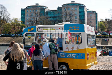 People queuing for ice creams from a traditional ice cream van on a sunny day York North Yorkshire England UK United Kingdom GB Great Britain - Stock Photo