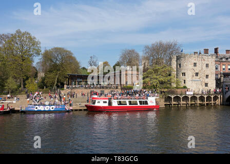The Star Inn the City Restaurant, and Riverside Boat Cruises York North Yorkshire England UK United Kingdom GB Great Britain - Stock Photo