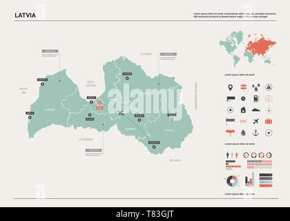 Vector map of Latvia. High detailed country map with division, cities and capital Riga. Political map,  world map, infographic elements. - Stock Photo
