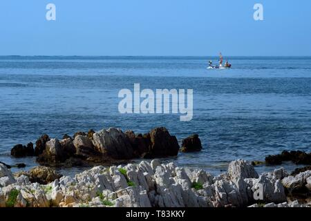 France, Alpes Maritimes, Lerins Islands, fishing boat next to Sainte Marguerite island - Stock Photo