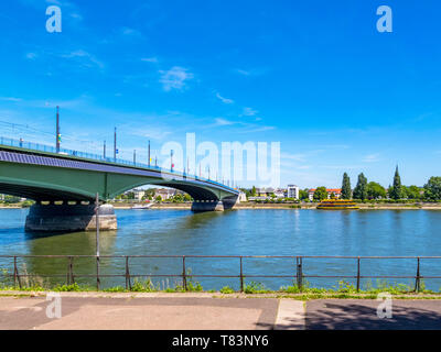 View of the Rhine and Kennedy Bridge in Bonn, Germany on a sunny summer day - Stock Photo
