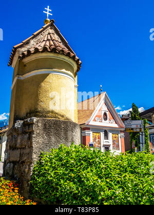 Lana di Sopra, Oberlana view with part of the Pilgrimage Church of St. John of Nepomuk in the background, in Lana, South Tyrol Italy - Stock Photo