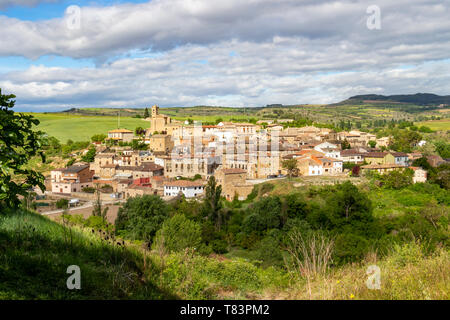 Beautiful May view of the town of Torres del Rio in Navarre, Spain on the Way of St. James, Camino de Santiago - Stock Photo