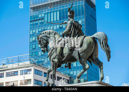 Statue of Count Ban Josip Jelacic from 19th century in Zagreb, Croatia, against modern office building - Stock Photo