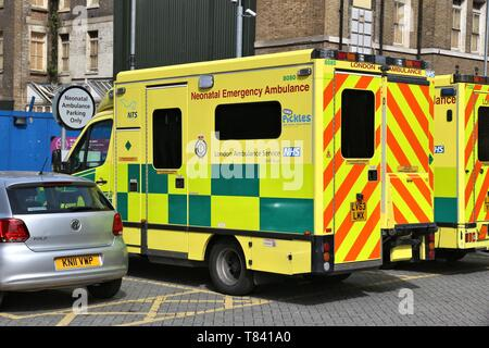 LONDON, UK - JULY 6, 2016: London Ambulance Service operated Neonatal Emergency Ambulance. It is part of National Health Service (NHS) in the UK. - Stock Photo