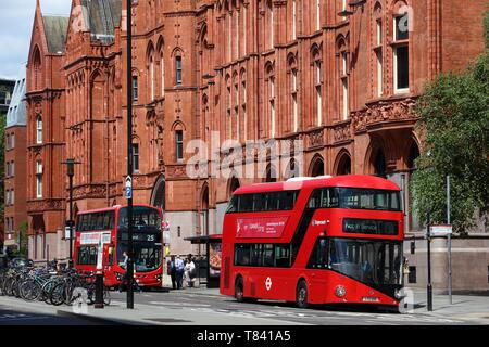 LONDON, UK - JULY 6, 2016: New Routemaster bus in Holborn, London. The hybrid diesel-electric bus is a new, modern version of iconic double decker. - Stock Photo