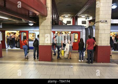 LONDON, UK - JULY 7, 2016: People wait at Baker Street underground station in London. London Underground is the 11th busiest metro system worldwide wi - Stock Photo