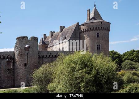 château de Suscinio, Sarzeau, Moyen Âge, Morbihan, Bretagne, Golfe du Morbihan, - Stock Photo