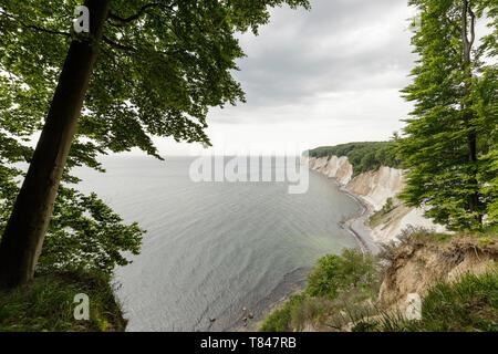 Landscape with coastal chalk cliffs, Jasmund National Park, Sassnitz, Rugen, Mecklenburg-Vorpommern, Germany - Stock Photo