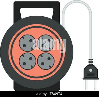 extension cord / lead icon. flat vector illustration - Stock Photo