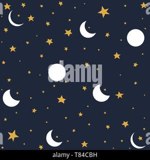 Seamless pattern with moon and stars - Stock Photo