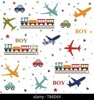 Background baby boy, seamless pattern - Stock Photo