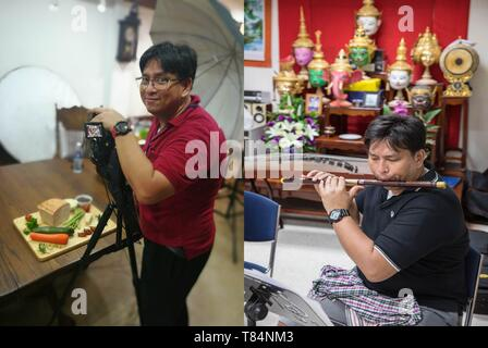 (190511) -- BANGKOK, May 11, 2019 (Xinhua) -- Combined photo shows Arthit taking photos of goods in Bangkok, Thailand, Aug. 30, 2018 (L), and Arthit playing Dizi, bamboo flute, with his friends of 'Tianxian Band' in a classroom in Huachiew Chalermprakiet University in Bangkok, Thailand, March 10, 2019. Thai band 'Tianxian', literally meaning 'heavenly strings', are consisted of several Thais who are crazy about Chinese musical instruments. Strange enough, however, none of them can speak fluent Chinese. In the Thai society where western musical instruments take dominant, a band featuring Chines - Stock Photo
