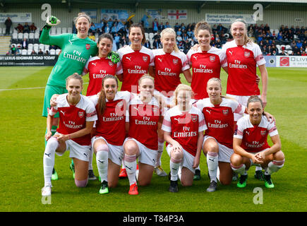 Boreham Wood, UK. 11th May, 2019. BOREHAMWOOD, United Kingdom - May 11: Arsenal Team during Women's Super League match between Arsenal and Manchester City Women FC at Meadow Park Stadium, Boredom Wood on 11 May 2019 in Borehamwood, England Credit: Action Foto Sport/Alamy Live News - Stock Photo