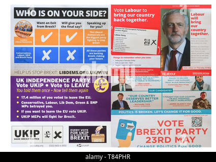 London, UK.  11th May 2019.  A composite of campaign leaflets by Liberal Democrats Party, Labour Party, Brexit Party and UKIP for the European elections on 23 May Credit: amer ghazzal/Alamy Live News - Stock Photo