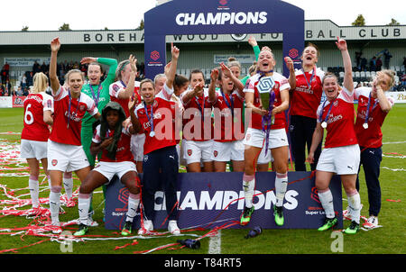 Boreham Wood, UK. 11th May, 2019. BOREHAMWOOD, United Kingdom - May 11:  during Women's Super League match between Arsenal and Manchester City Women FC at Meadow Park Stadium , Boredom Wood on 11 May 2019 in Borehamwood, England  Credit Action Foto Sport - Stock Photo