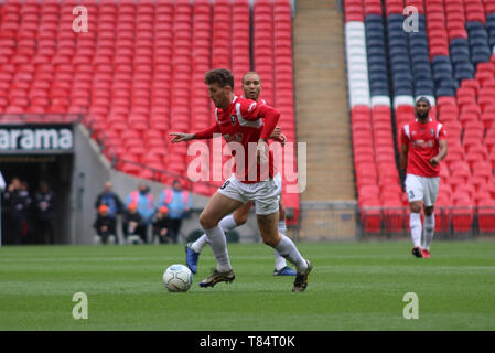 London, UK . 11th May 2019.  Salford's Danny Whitehead during the Vanarama National League Play Off Final between Salford City and AFC Fylde at Wembley Stadium, London on Saturday 11th May 2019. (Credit: Lewis Storey | MI News & Sport ) ©MI News & Sport Ltd Tel: +44 7752 571576 e-mail: markf@mediaimage.co.uk Address: 1 Victoria Grove, Stockton on Tees, TS19 7EL - Stock Photo