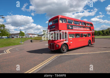 Glasgow, Scotland, UK. 11th May, 2019. UK Weather. A vintage 1966 Routemaster Bus used by the company Red Bus Bistro in Glasgow Green giving gourmet food and drink tours around Glasgow. Credit: Skully/Alamy Live News - Stock Photo